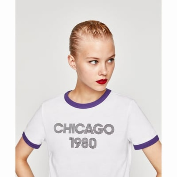 df48b97d835 Zara Trafaluc Medium Retro White Purple T-Shirt